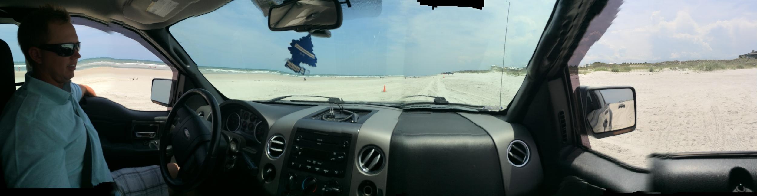 Driving on the beach! Feels like like driving on slushy snow!