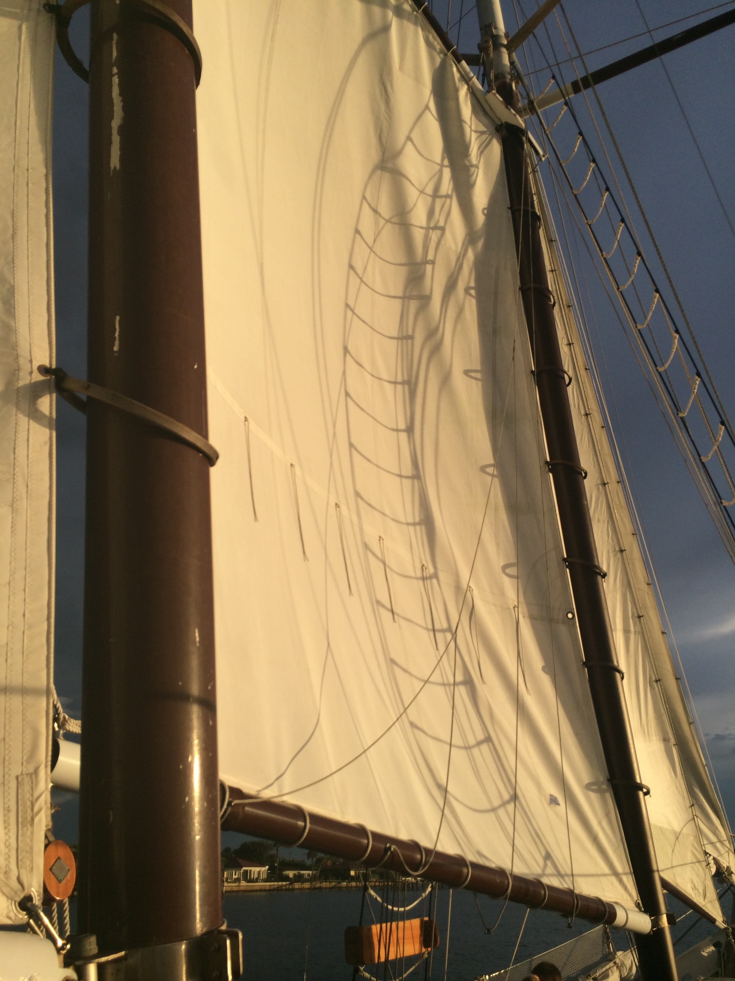 Sunset light on the sails of the Schooner Freedom