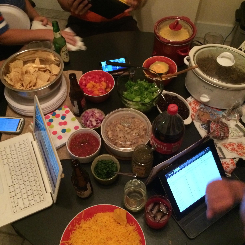 Taco night for Fantasy Football Draft!