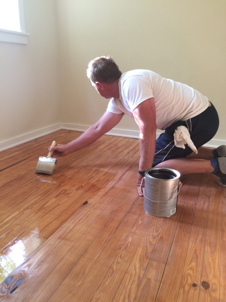 Adding a few coats to the floor...