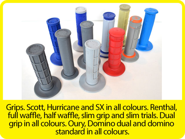 Grips.-Scott,-Hurricane-and-SX-in-all-colours.-Renthal,-full-waffle,-half-waffle,-slim-grip-and-slim-trials.-Dual-grip-in-all-colours.-Oury,-Domino-dual-and-domino-standard-in-all-colours..jpg