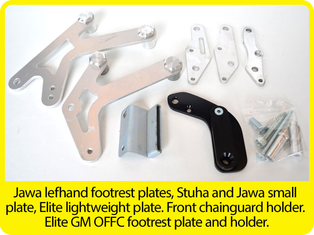 Jawa-lefhand-footrest-plates,-Stuha-and-Jawa-small-plate,-Elite-lightweight-plate.-Front-chainguard-holder.-Elite-GM-OFFC-footrest-plate-and-holder..jpg