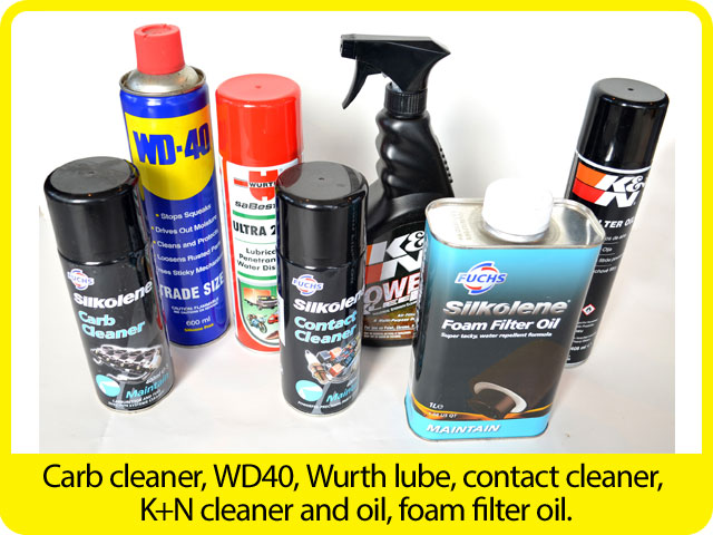 Carb-cleaner,-WD40,-Wurth-lube,-contact-cleaner,-K+N-cleaner-and-oil,-foam-filter-oil..jpg