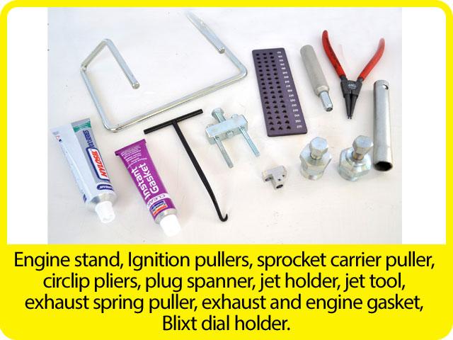 Engine-stand,-Ignition-pullers,-sprocket-carrier-puller,-circlip-pliers,-plug-spanner,-jet-holder,-jet-tool,-exhaust-spring-puller,-exhaust-and-engine-gasket,-Blixt-dial-holder..jpg