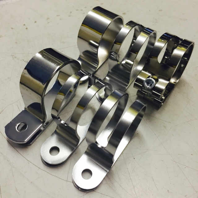 Elite P shaped exhaust clips. Heavy duty, lightweight wide slot, slotted all around, solid, narrow slot, lightweight silencer clamp