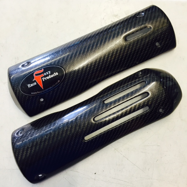 Foxy race products carbon heatshield, DEP carbon heat shield. All mounting clips included
