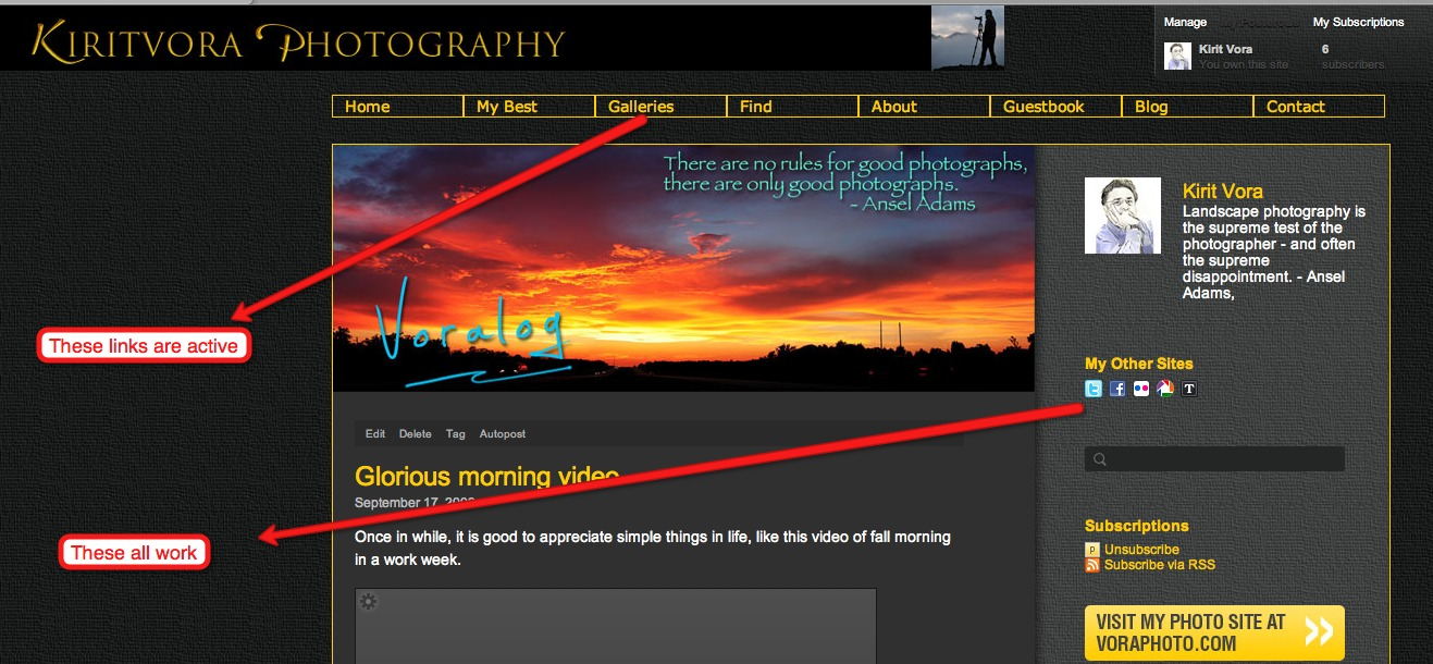 After weeks of hard work we are proud to unveil our new make over.  Now my blog voralog.com is fully integrated in to my photo site voraphoto.com.  They have the same gold and black theme and links are all live. Round trip between the two is only one click away.  All postings are automatically disseminated to socia; networks like Facebook, Twitter etc.  Check it out.