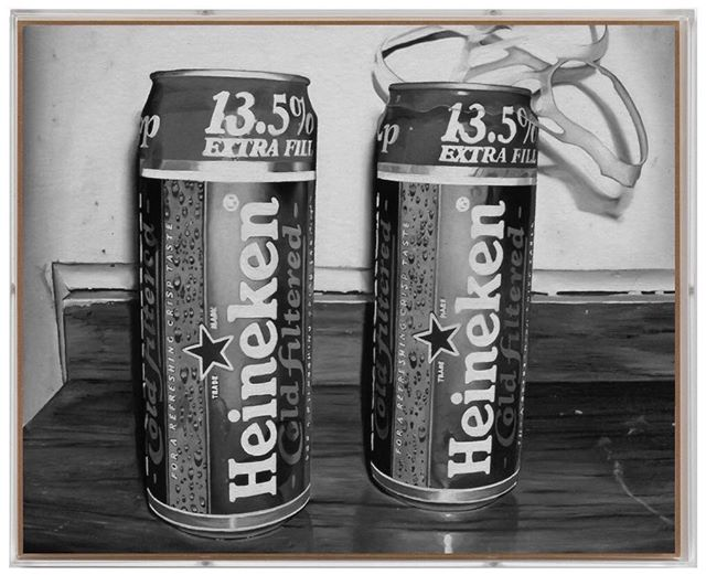 One of the first black and white paintings - Two Beers  2003  Oil and varnish on birch ply in perspex box frame 40cm x 32cm #art #painting #oilpaintings #artist #artwork #artoftheday #contemporarypainting #contemporaryart #artviewers #modernart #kunst