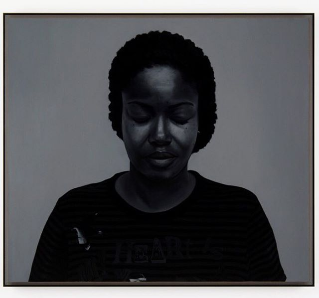 Dark Thoughts (Joan)  Oil and varnish on birch ply panel in tinted perspex box frame. 72cm x 82cm - From a small series of portraits of friends made in 2006. Tricky to photograph due to it's dark tinted acrylic box frame. About to be shown in Heads Roll at the Graves Gallery in Sheffield #headsroll @gravesgallery #art #painting #oilpaintings #artist #artwork #artoftheday #contemporarypainting #contemporaryart #artviewers #modernart #groupshow #portrait