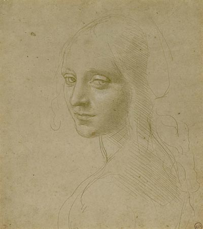 Leonardo da Vinci,   Head of a Young Woman (Study for the Angel in the 'Virgin of the Rocks'),   1480s, metalpoint heightened with white on buff prepared paper.