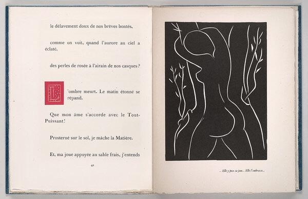 Henri Matisse (1869–1954), linocut illustration and initial in Henry de Montherlant (1895– 1972),  Pasiphaé, Chant de Minos (Les Crétois)  . Paris: Martin Fabiani, 1944.