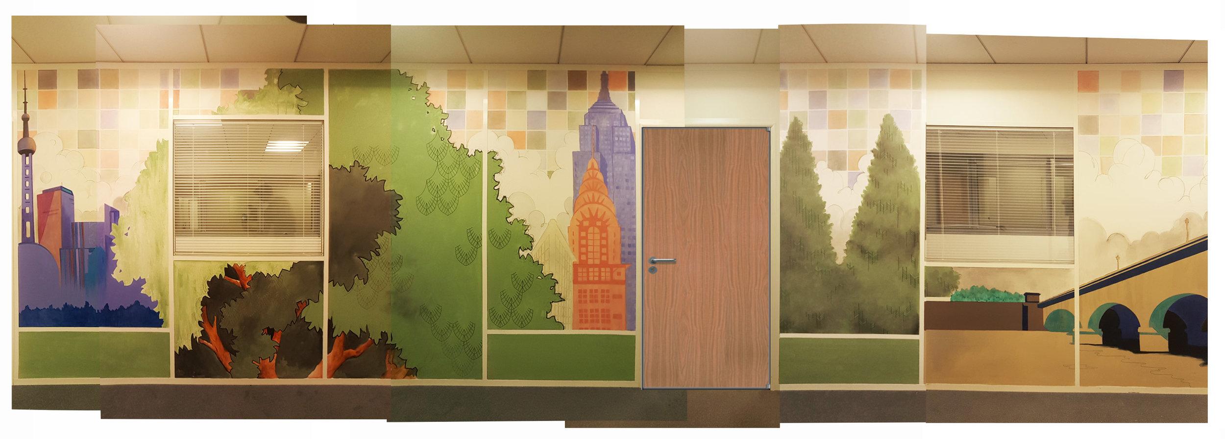 Composite photo of 42' hallway mural Paris, France