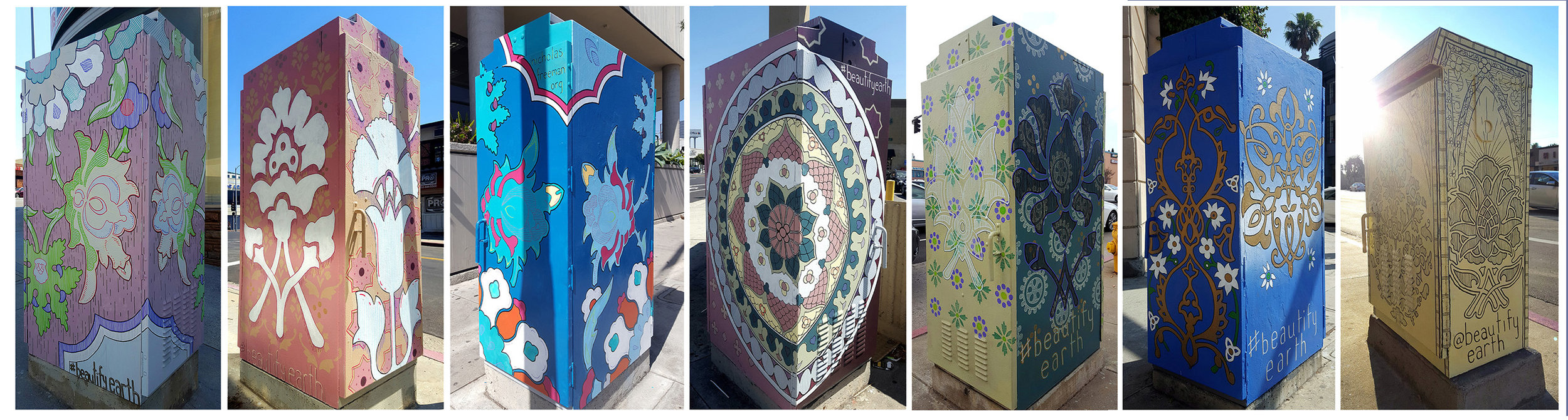 "Painted utility boxes 72"" x 33"" x 24"" Commissioned by the City Council to celebrate the Persian community of Westwood Westwood Blvd, Los Angeles, CA"