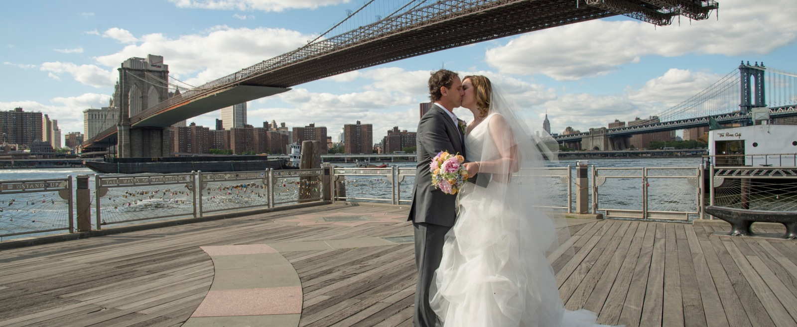 Panoramic view of the waterfront and Brooklyn Bridge