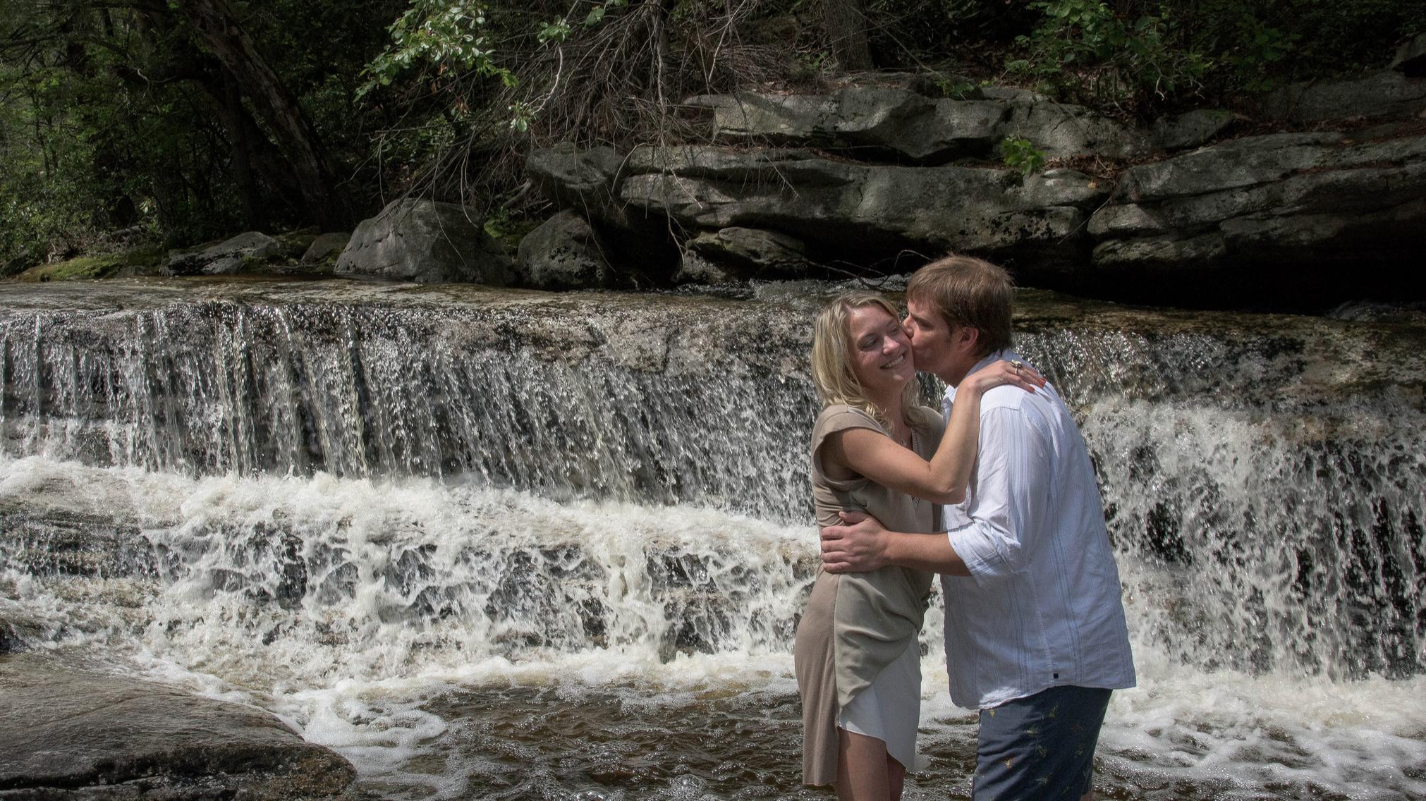 a waterfall kiss