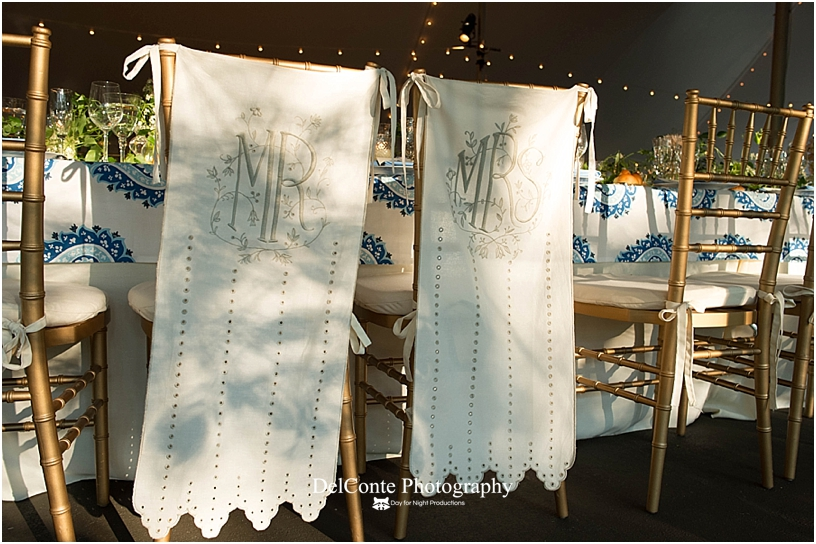 Mr and Mrs hand embroidered chair covers