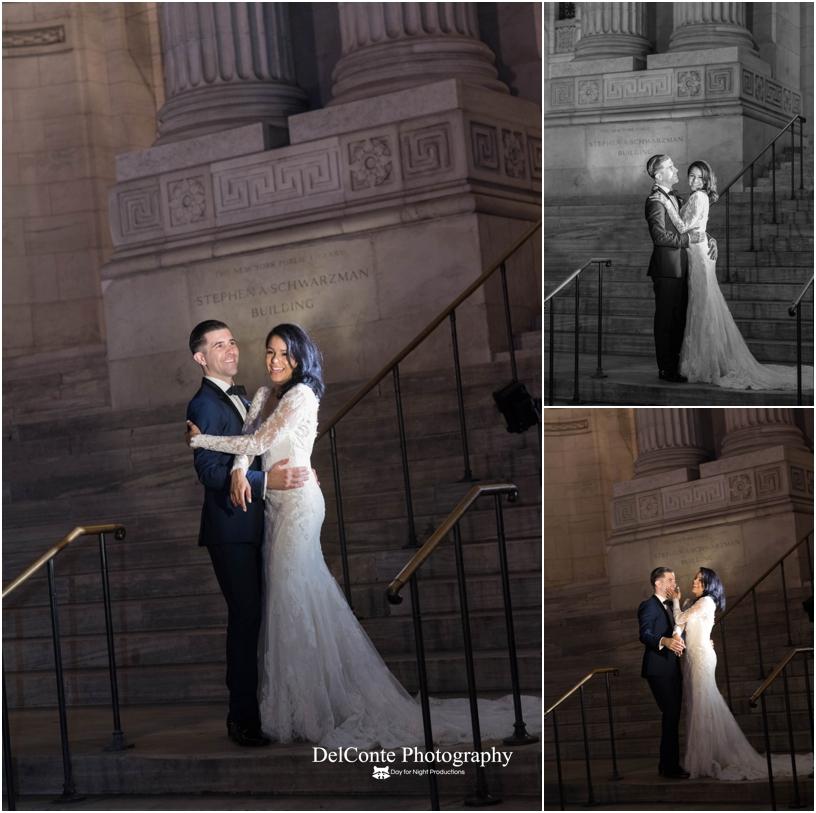NY Public Library wedding portrait
