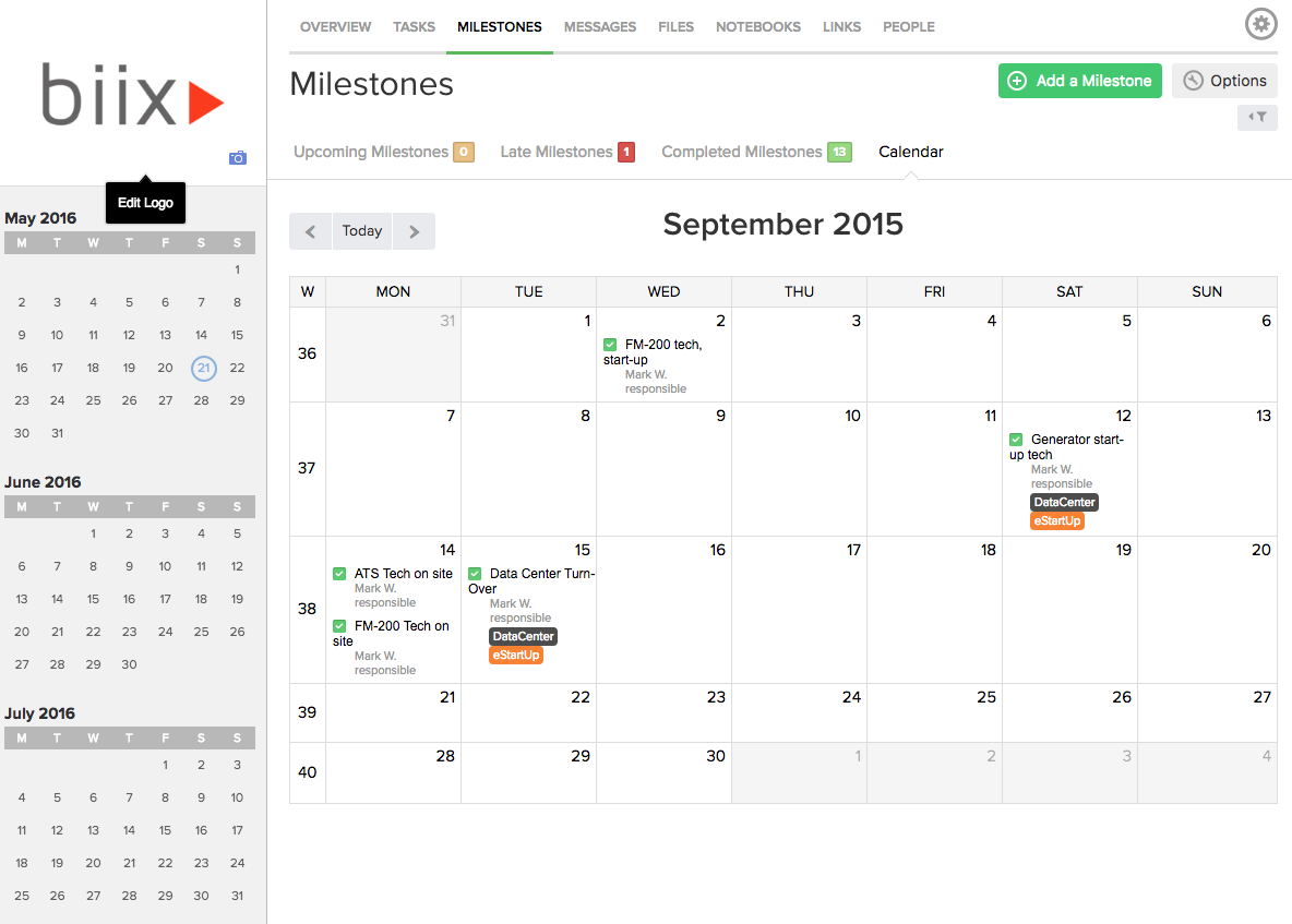 Milestones are shown in Calendar View or in Gantt Chart view.