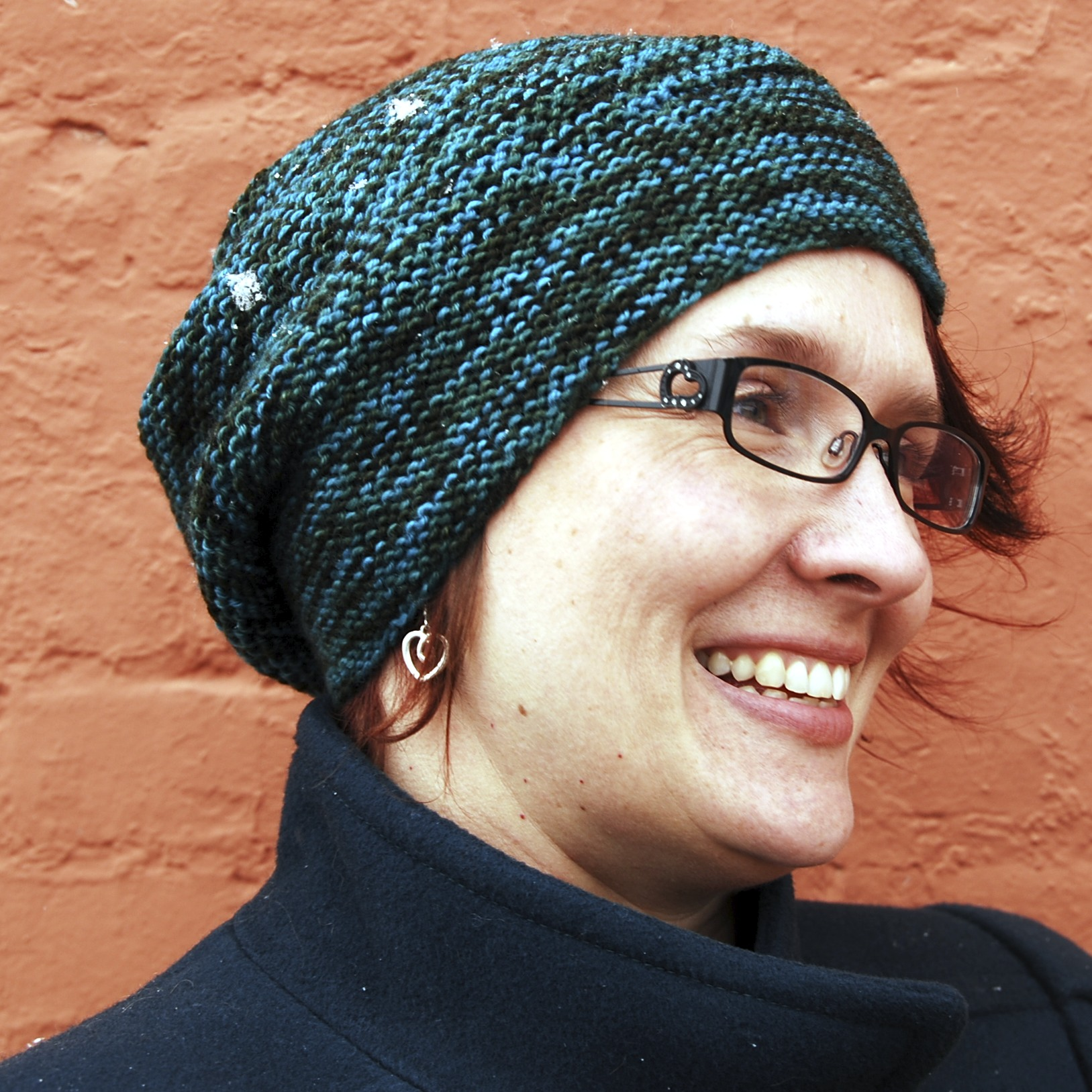 Joy wearing Rikke.  Design by Sarah Young, knit by Stashmuffin