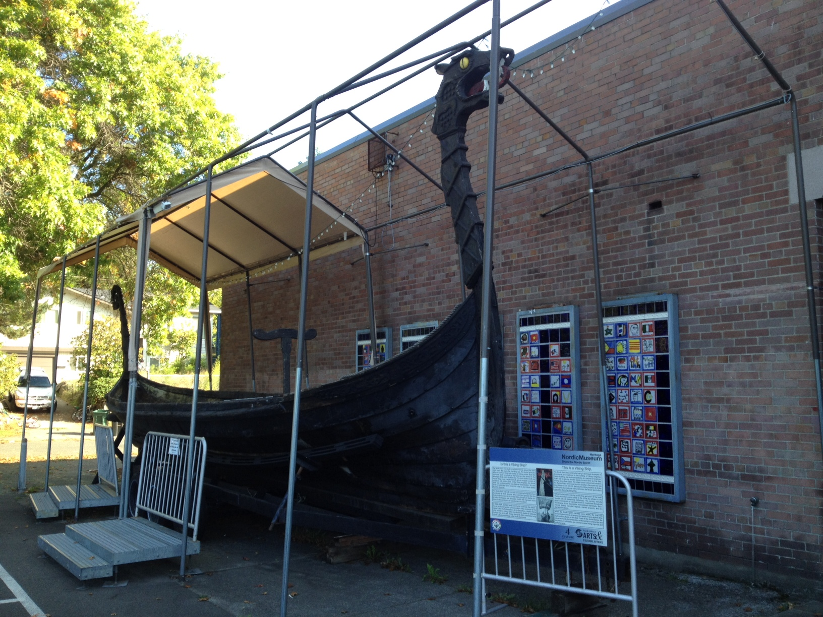 Just in case you weren't sure… a Viking boat at the main entry to the Nordic Museum.