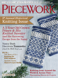"Piecework cover for January/February 2015 ""Historical Knitting Issue"""