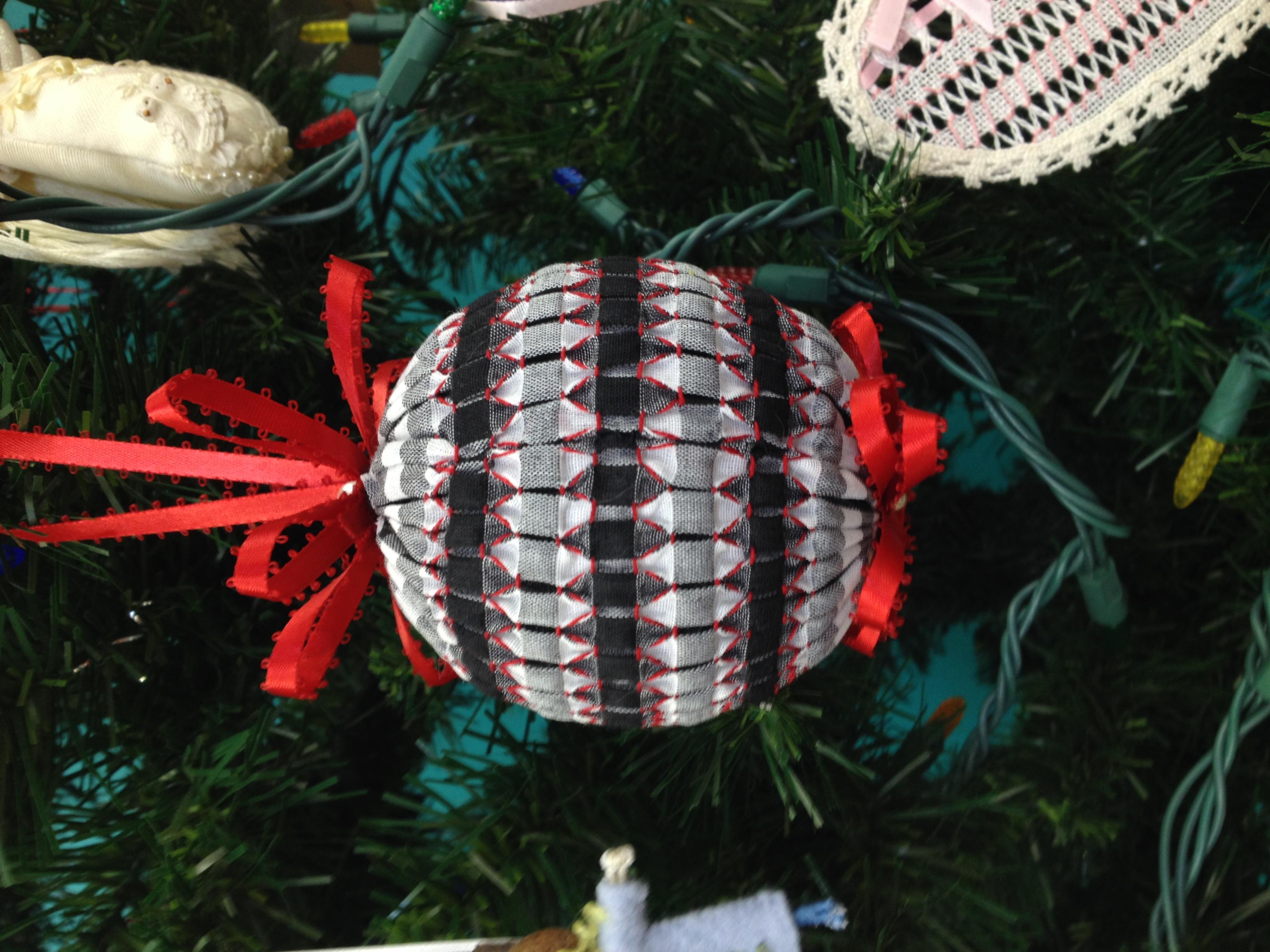smocked ball on gingham fabric