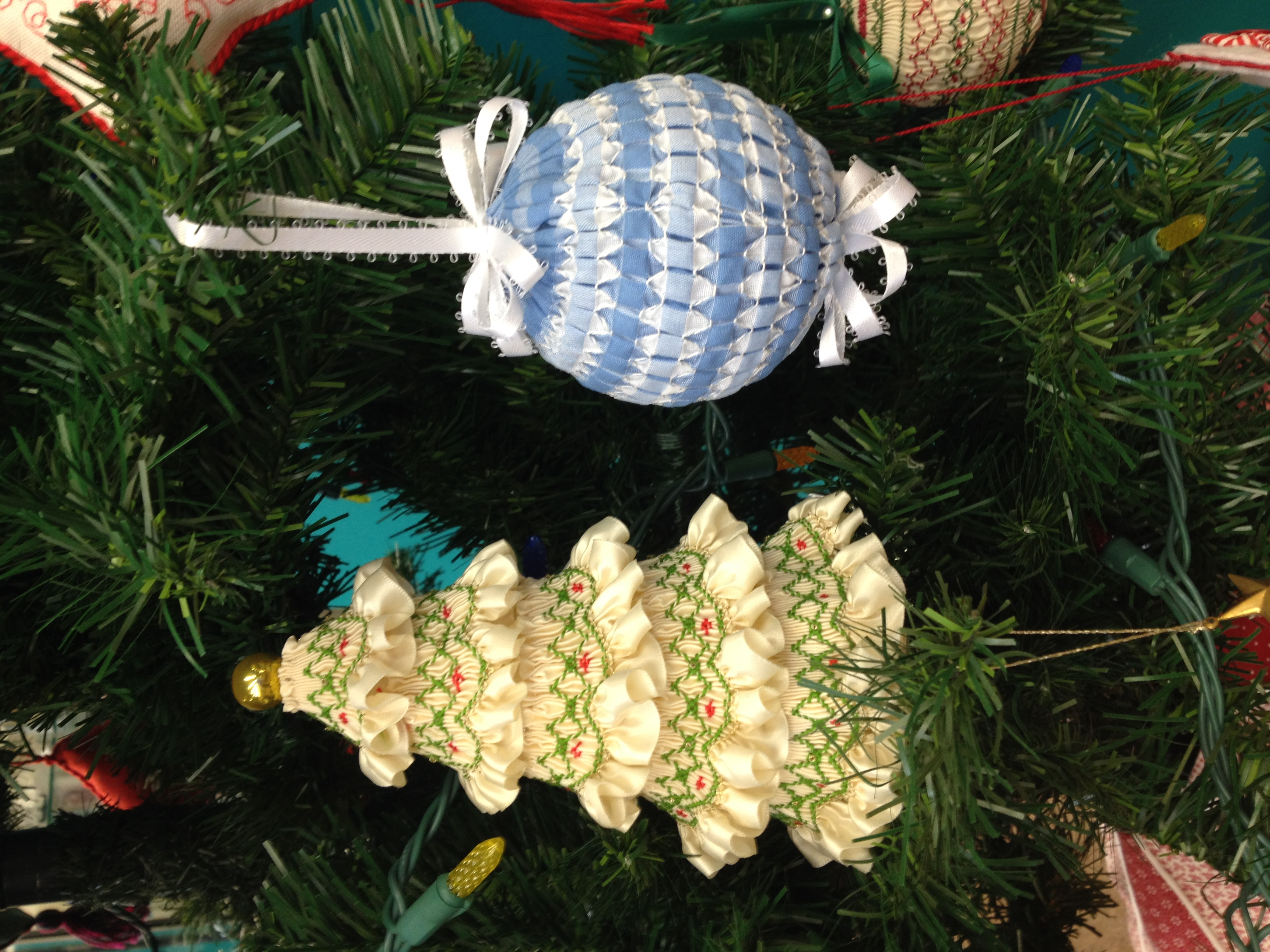 smocked tree of gathered trim and blue gingham ball