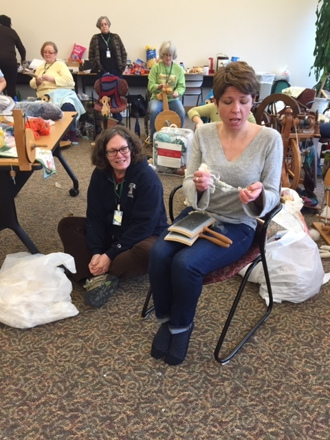 Kate Larson (with Susan Markle, owner of  the Trading Post  on the floor)