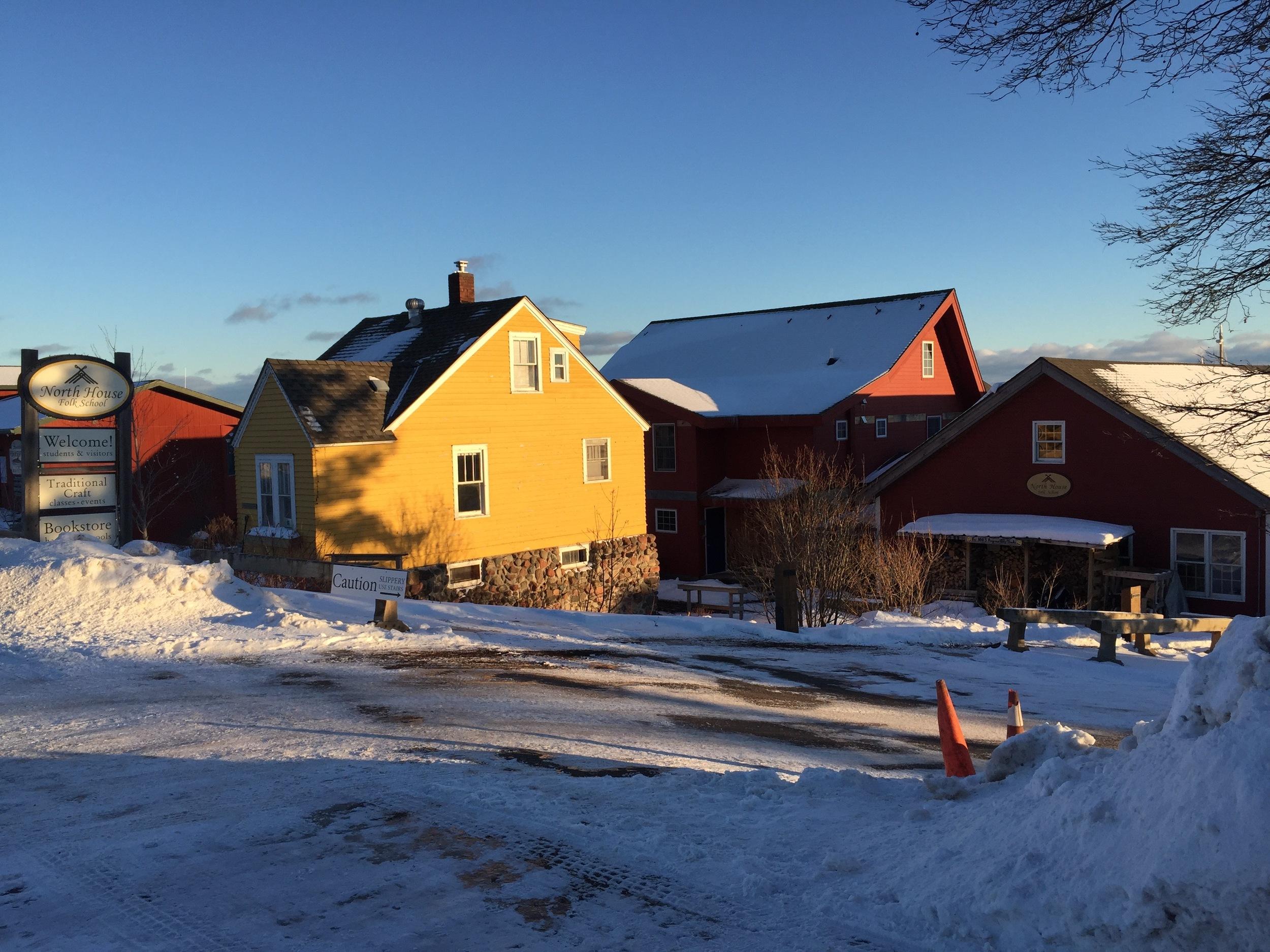 The North House Folk School sign and campus at Grand Marais, Minnesota.