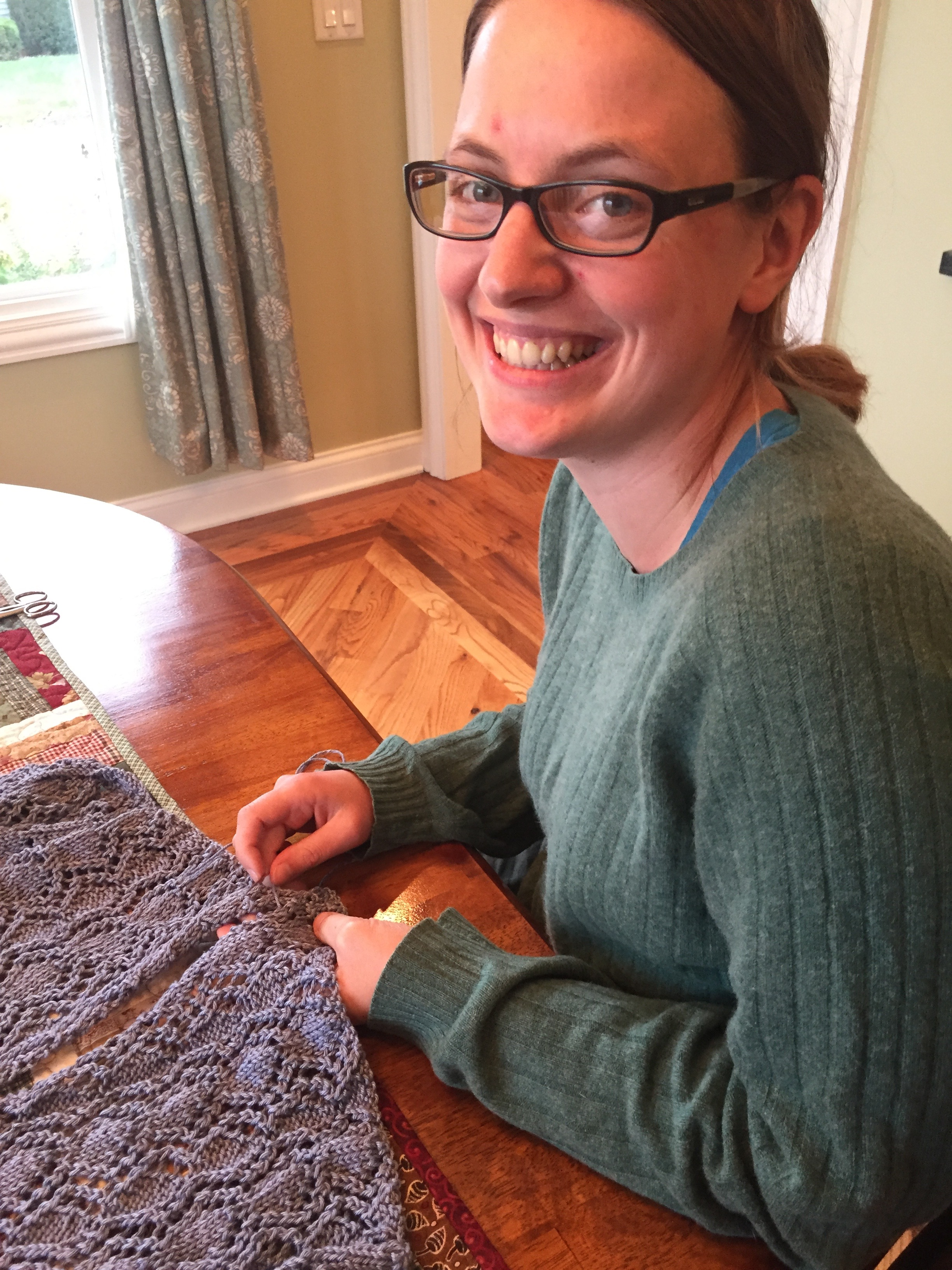 Audrey pieces together her FIRST KNITTING PROJECT. That's right: a lace, long-sleeved tunic!