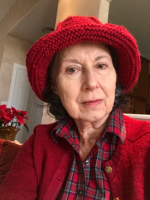 Mum's Hyacinth Bucket hat done in Brown Sheep worsted