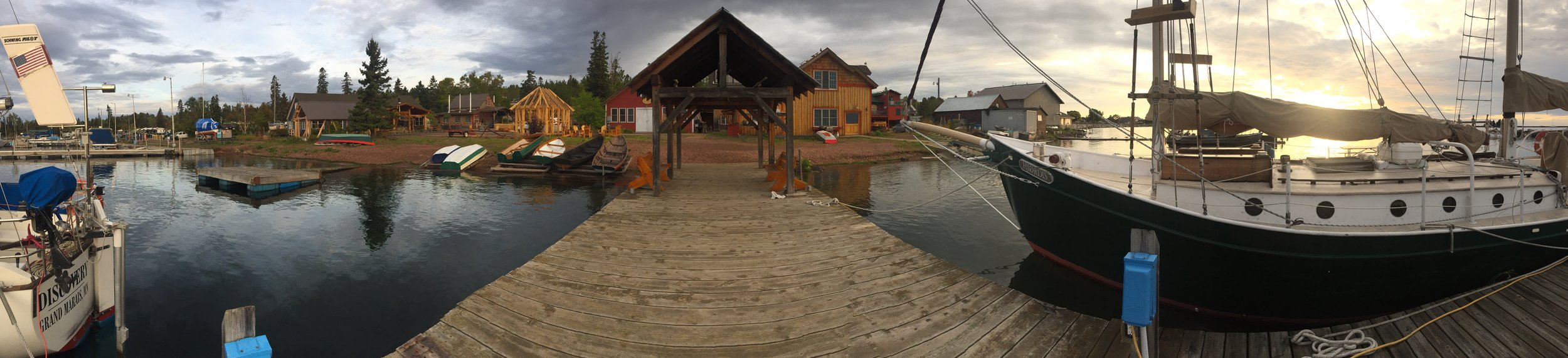 panoramic view of North House grounds from their dock, early morning