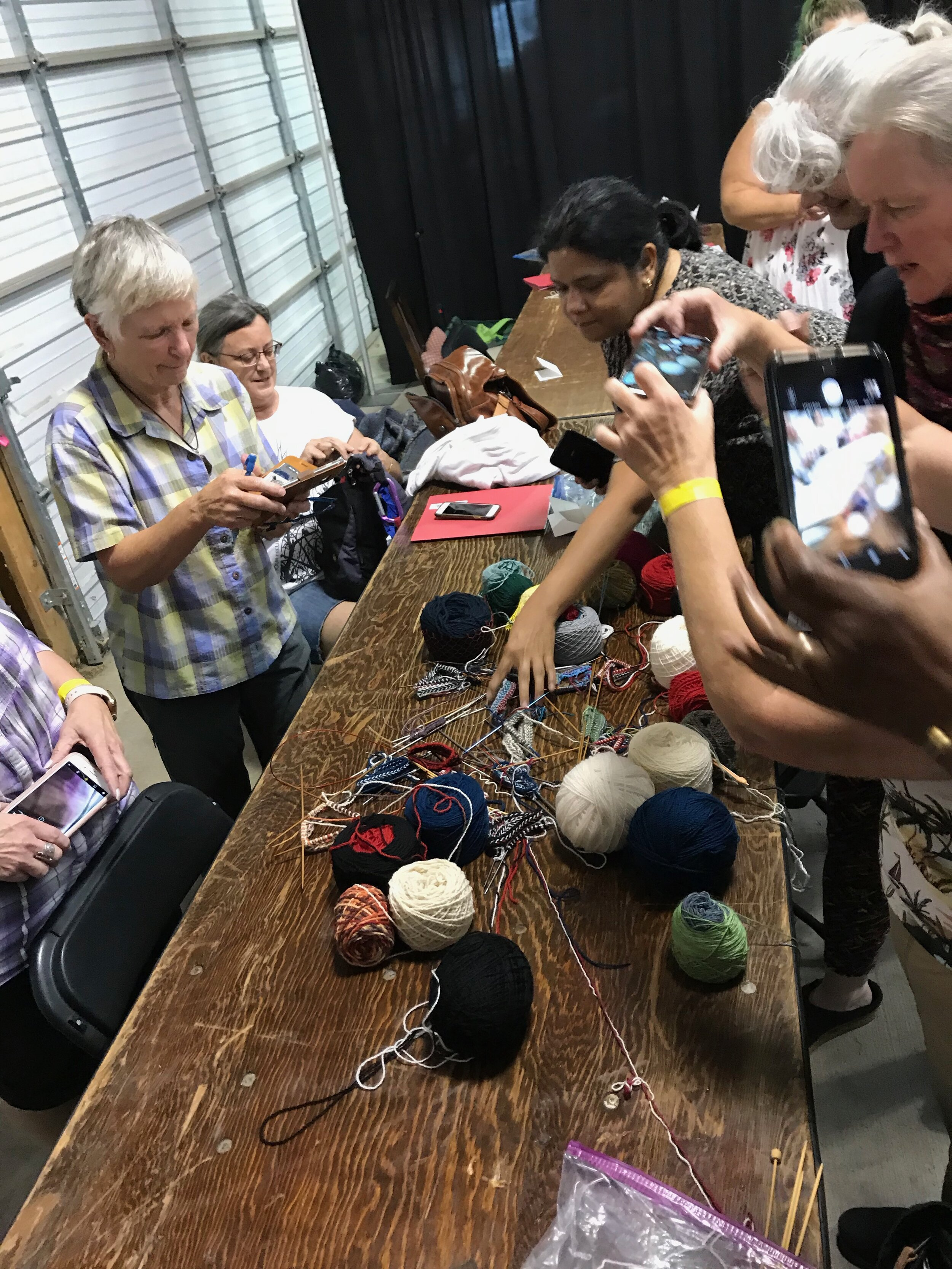 Twined knitting samplers with the students