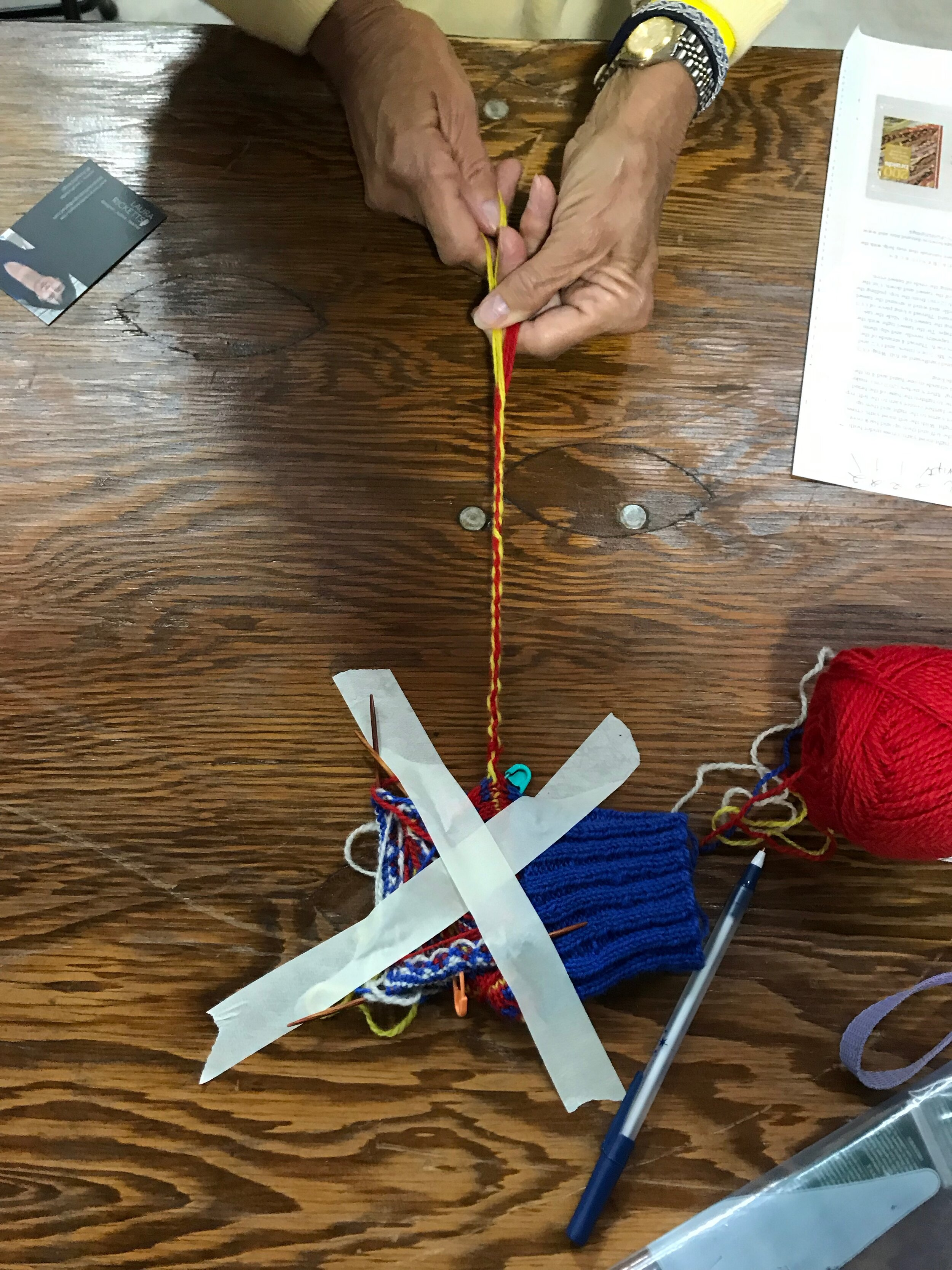 Making a four-stranded, round braid