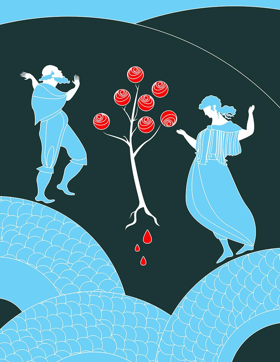 Sant Jordi Rosas Illustracion
