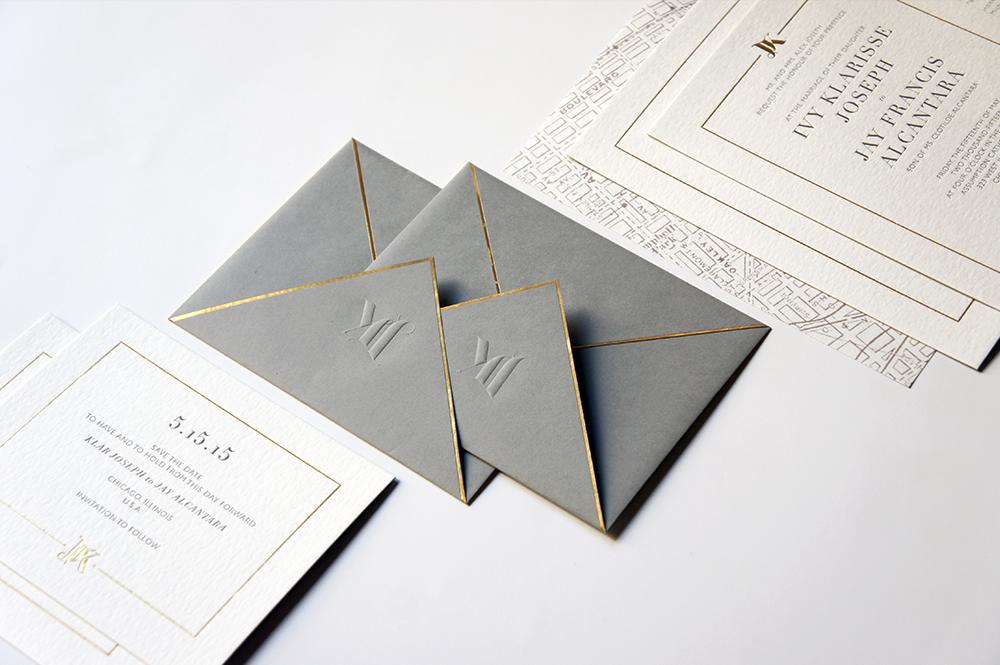 Gold, Grey Wedding Invitation