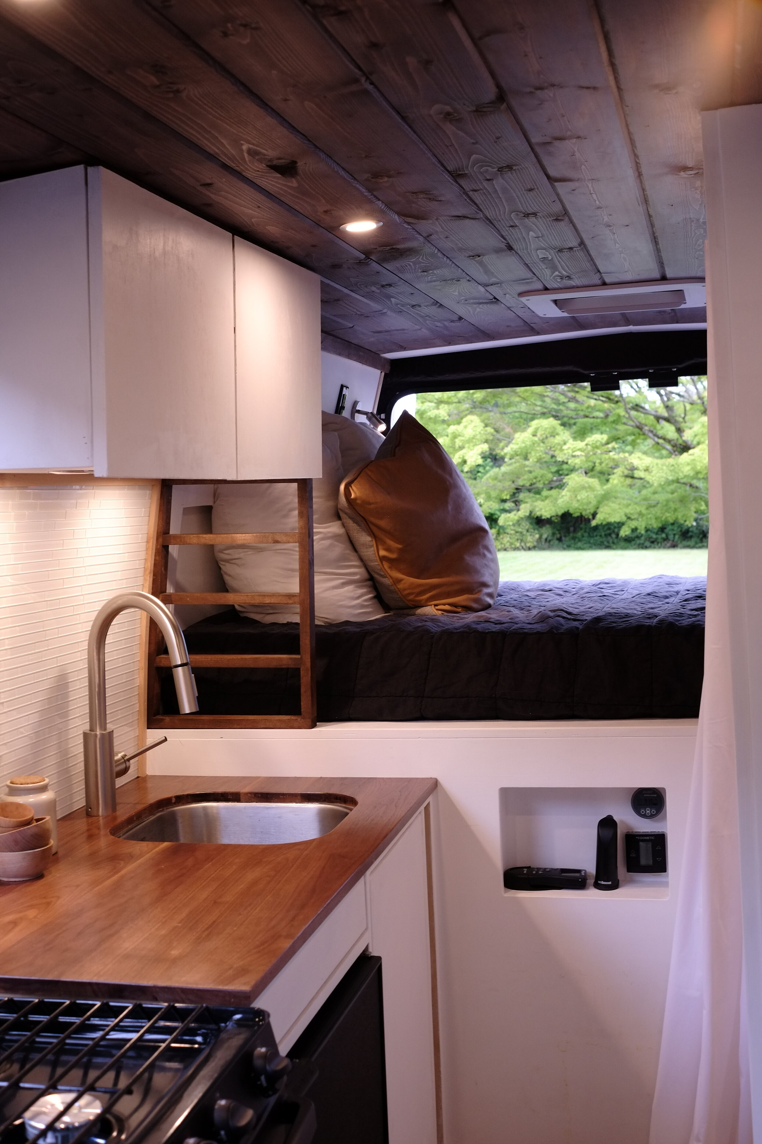 Walnut and White van conversion