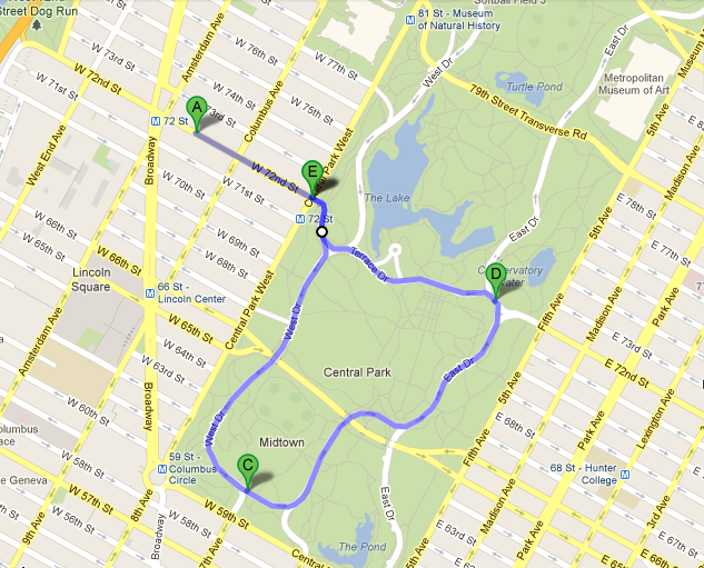 We'll walk over to Central Park from West to stretch the legs (about .3 miles) and then take off on a 2 mile loop through Central Park!