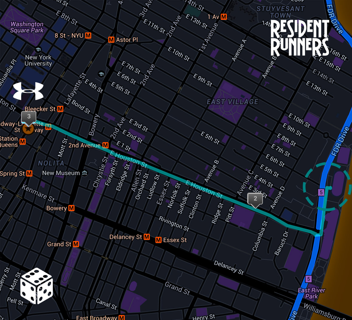 Click here to view this route on MapMyRun.  NOTE: the midpoint of this 3 mile route is East River Park Track.