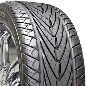 Directional tyre: note V-shaped groove in tread. Needs to point down at the front