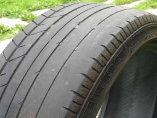 When tyres wear out like this, it's invariably owner abuse. If you notice uneven wear, get a wheel alignment, yesterday