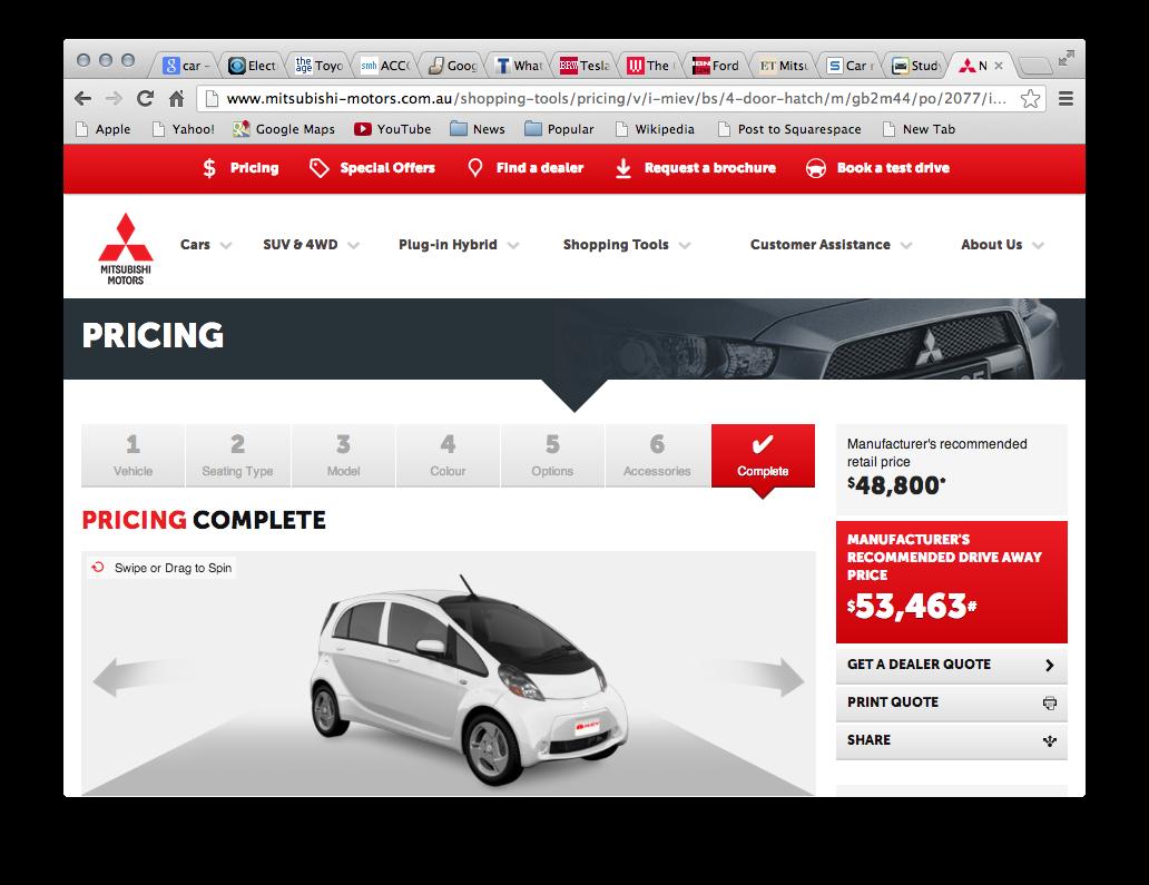 Australian i-MiEV Electric Car Price