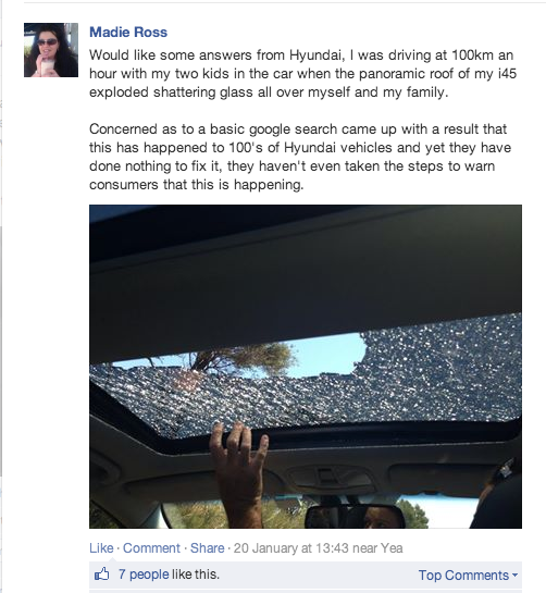 Madie Ross's post on Hyundai's Facebook page