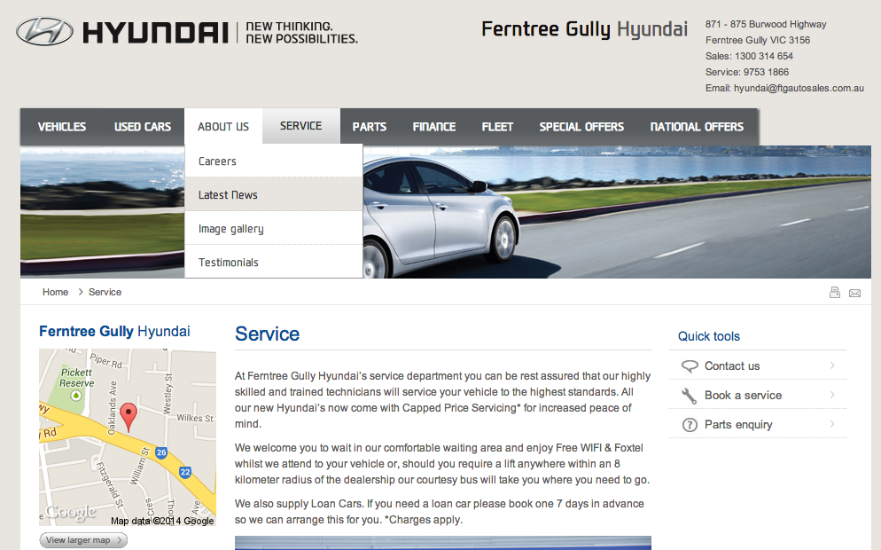Ferntree Gully Hyundai's website - from a parallel universe on the issue of lifts and loan cars at least