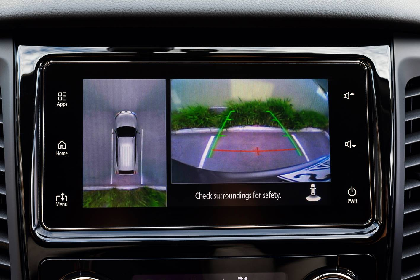 Reversing camera is standard across the range, but Pajero Sport Exceed model grade adds the so-called 'Multi Around Monitor' (seen above; at left of split screen) which is formed by stitching together video feed from front, rear and under-wing-mirror cameras, in real time.