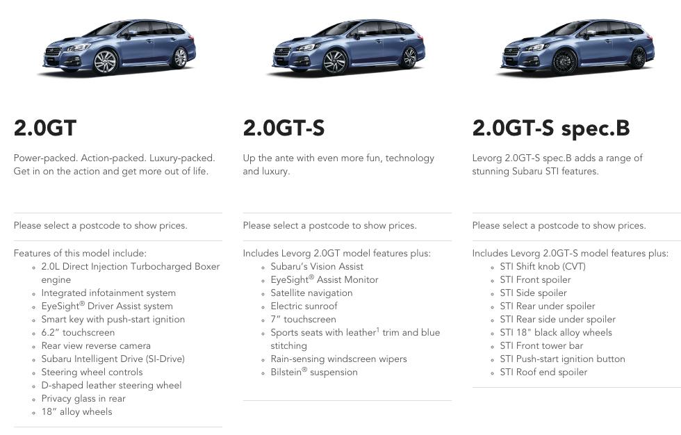 Subaru Levorg Model Range