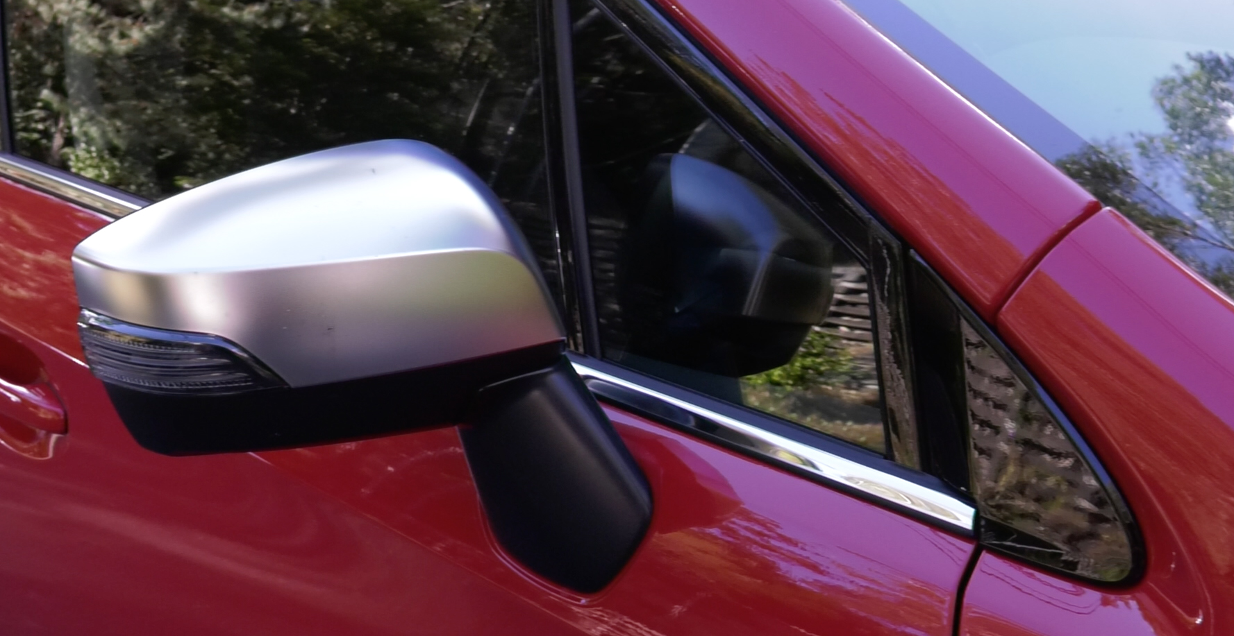 Clever Levorg mirror placement reduces the 'visual mass of the A-pillar and aids driver vision by cutting the blind spot behind the pillar in some situations