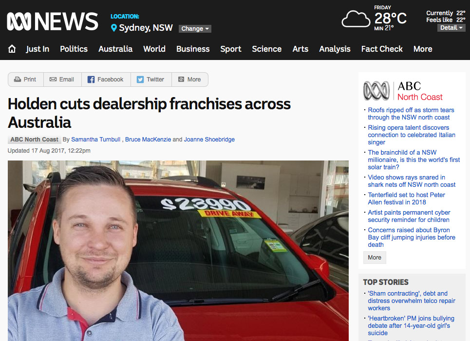 30 Holden dealers were boned unceremoniously last year simply because sales volumes had shrunk to become insufficient to support the previously viable dealer network