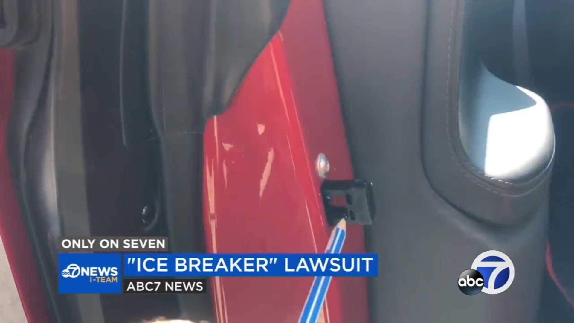 Tesla Model X 'Icebreaker' feature shown extended with entrapment hazard clearly visible