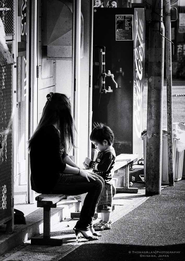 Little boy with his Mom in Okinawa, Japan.